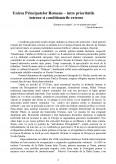 Unirea Principatelor intre Prioritatile Interne si Conditionarile Externe