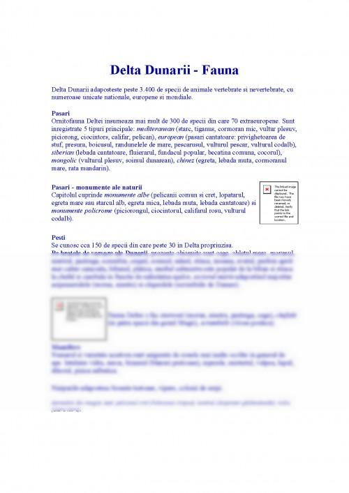 Referat: Delta Dunarii Fauna (#322677) - Graduo