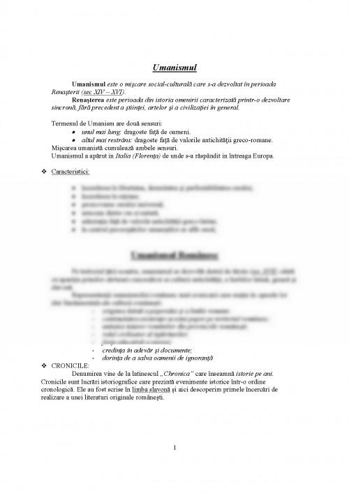 Referat: Umanismul Si Cronicarii (#338753) - Graduo