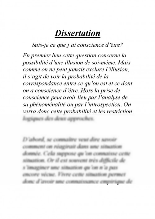 Dissertation etre ou paraitre