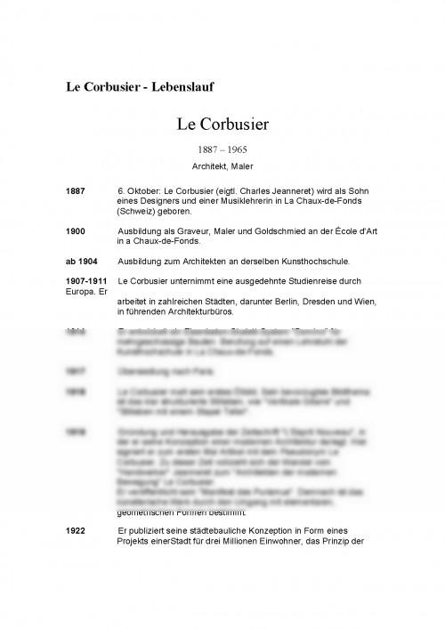 Referat: Le Corbusier Lebenslauf 1887 1965 (#340661) - Graduo