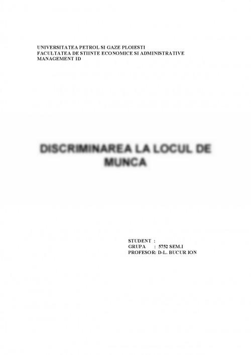 Discriminarea sexuala referat