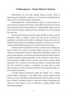 referat problematizarea metoda didactica moderna